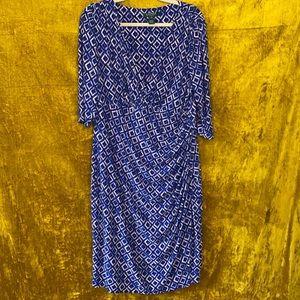 Lauren Ralph Lauren Navy Mosaic Faux Wrap Dress 16